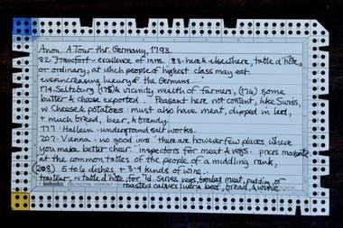 Las tarjetas perforadas con las recetas que usaba Bárbara Wheaton en los años 70