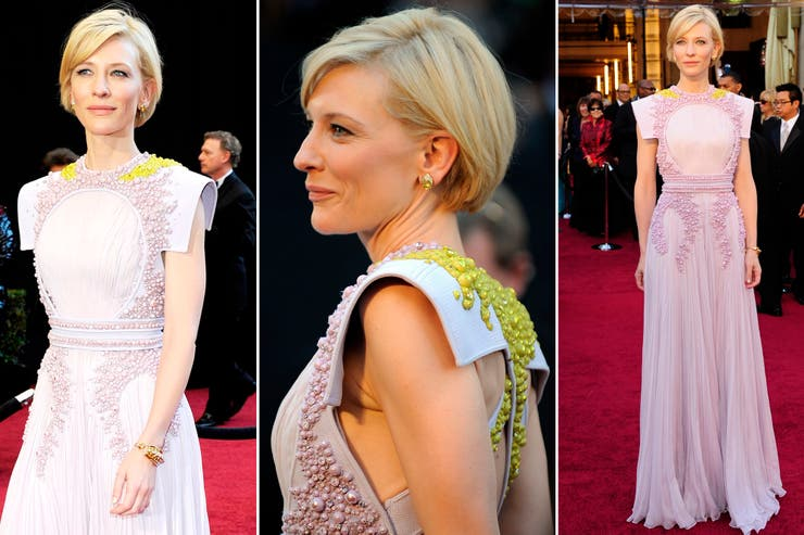 Givenchy advirtió que Cate Blanchet es distinta y que su look debía demostrarlo; en la ceremonia de 2011, la actriz lució una pieza que combinaba texturas con planos rígidos y un calce planimétrico que hace honor a su naturaleza singular y su tono discreto