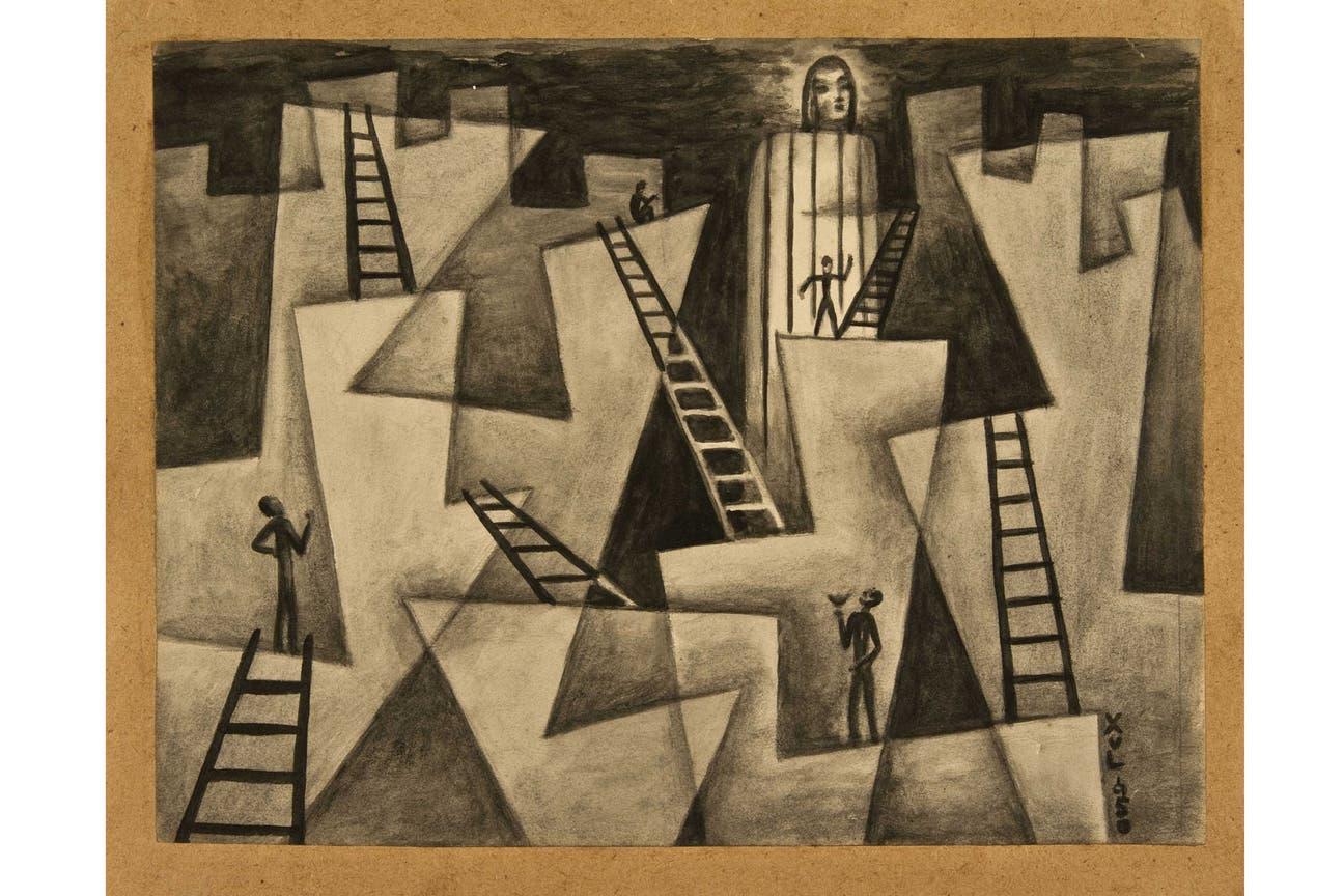 """""""Ascensión por las rocas"""" (1950), de Xul Solar. Galería Rubbers Internacional, Sección Principal"""