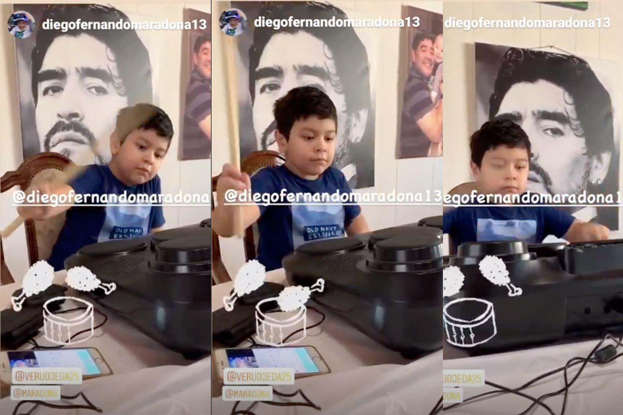 ¿Un Maradona músico?: Dieguito Fernando se divirtió con la batería en Instagram