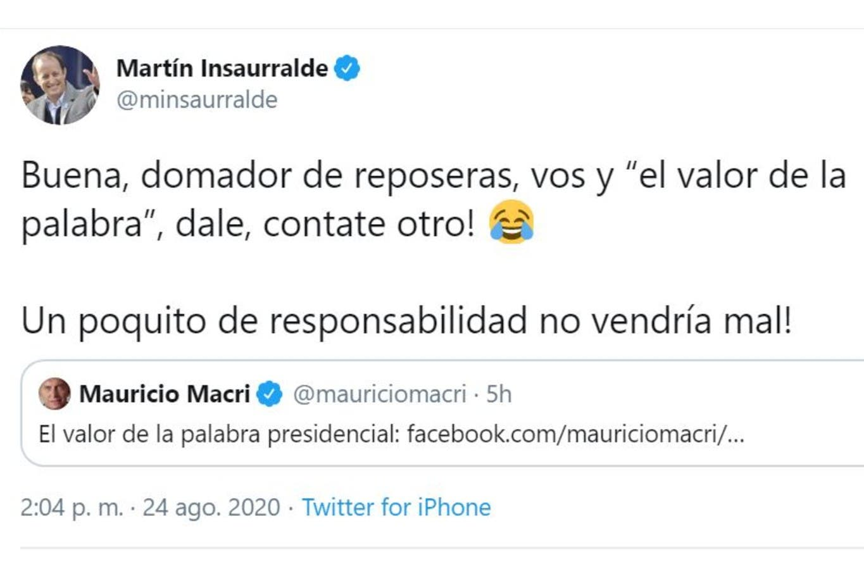 """""""¡Contate otro!"""": la dura crítica de Martín Insaurralde a Mauricio Macri por su carta a los argentinos"""
