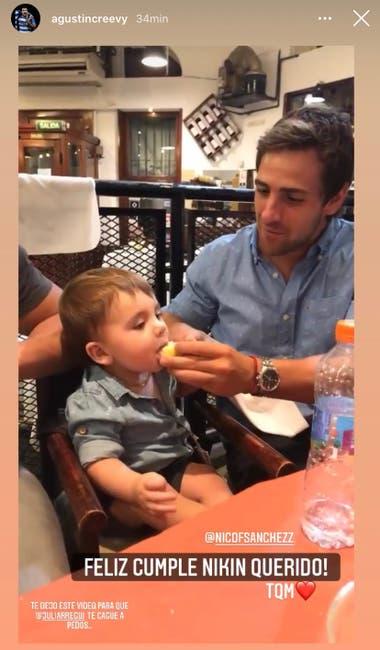 La story que subió Agustín Creevy para decirle feliz cumpleaños a Nicolás Sánchez. Crédito: Instagram