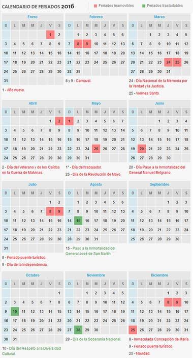 Calendario 2016 Argentina.Como Es El Calendario De Feriados Para 2016 La Nacion