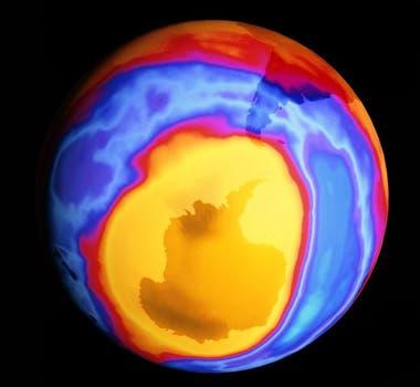 Así era el agujero de la capa de ozono sobre el Antártica en el año 2000
