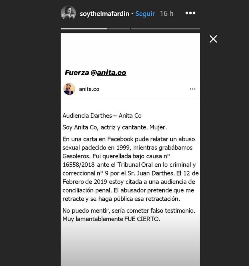 La actriz que denunció por violación a Juan Darthés publicó el descargo de Co en su cuenta de Instagram