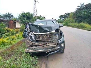 El auto de Samuel Etoo, tras el accidente