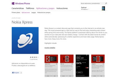 La página del Xpress Browser, el navegador para Windows Phone de Nokia
