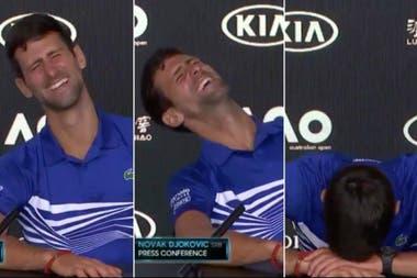 Djokovic en Australia 2019: no puede evitar la tentación ante una broma al mismo periodista