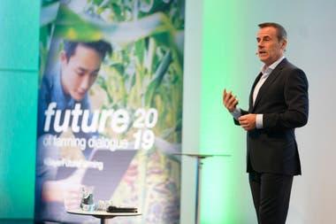 Liam Condon, presidente de la división de cultivos de Bayer, en la jornada realizada en la ciudad alemana de Monheim