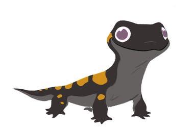 El boceto de Bruni, la salamandra, sobre el que trabajaron los animadores