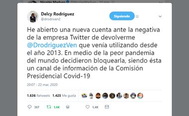 Delcy Rodríguez abrió una nueva cuenta en Twitter luego de que la compañía decidiera bloquearla