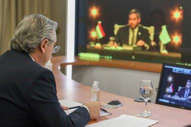 Alberto Fernández, durante la reciente virtual del Mercosur
