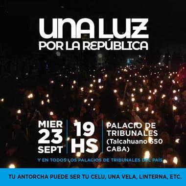La convocatoria a la marcha, en defensa de la independencia de la Justicia