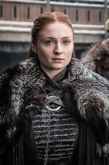 Turner como la reina de Winterfell hacia el final de la serie.