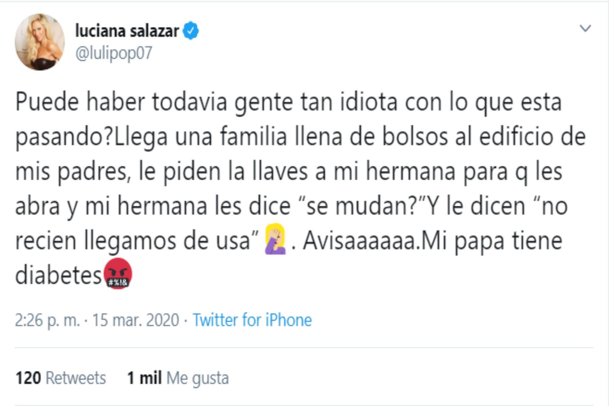 Luciana Salazar, furiosa contra unos vecinos de sus padres por el coronavirus