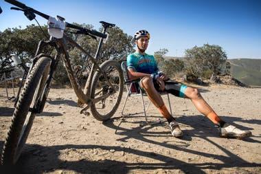 Tiago Ferreira durante un descanso de su recorrido
