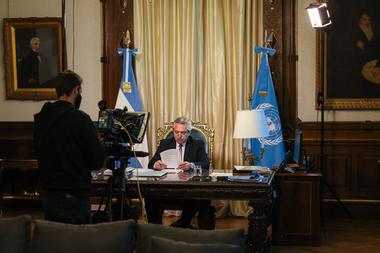 Alberto Fernández se prepara para dar su discurso ante la Asamblea General de la ONU