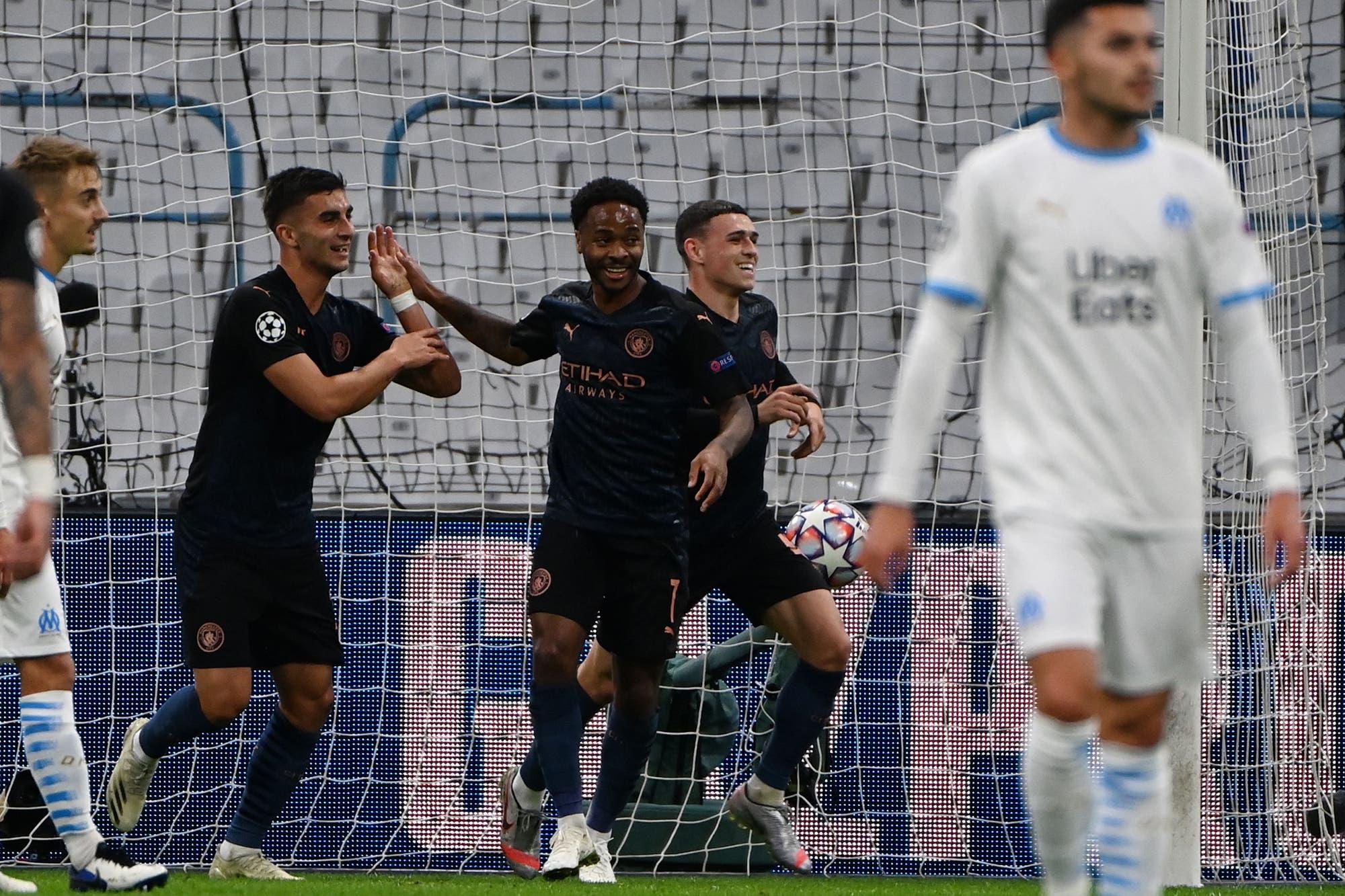 Manchester City goleó a Olympique de Marsella en Francia y se sobrepone a las ausencias por lesiones en la Champions League