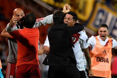 Marcelo Gallardo, festeja durante el partido que River disputó frente a Boca en Mendoza, el 14 de marzo de 2018