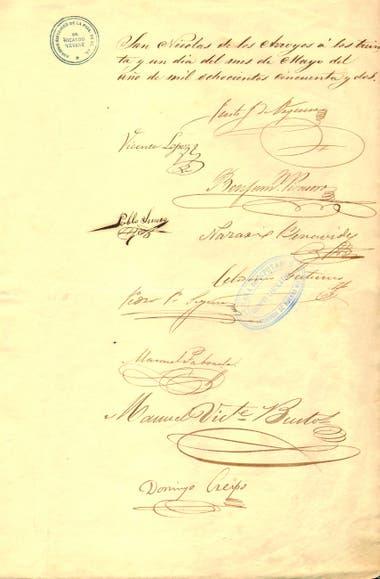 Firmas del documento del Acuerdo de San Nicolás de los Arroyos