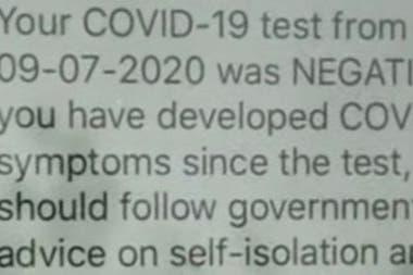 Un mensaje de texto confirmaría si la prueba es negativa o positiva