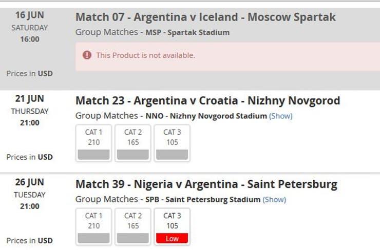 Una captura del sitio de FIFA para comprar entradas de los partidos de la selección: ante Islandia, agotado