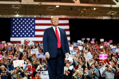 Trump en una acto de campaña, ayer en Cleveland, Ohio