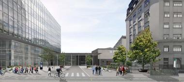 El proyecto que propone renovar la Avenida del Libertador en Retiro sobre la derecha el edificio de la AABE y detrs la estacin del ferrocarril Mitre