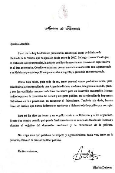El comunicado de la renuncia de Nicolás Dujovne