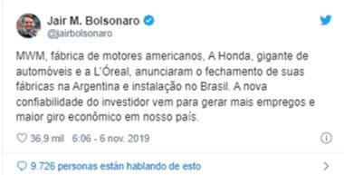 El tuit de Bolsonaro con el anuncio que luego borró