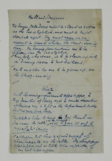 Carta de Dickens a su mayordomo con indicaciones para recibir a sus invitados en una comida