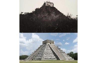 Chichen Itza, patrimonio arqueológico de México, la postal en blanco y negro corresponde a 1892, y la segunda es actual