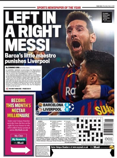 Locos por Messi: Klopp, Lineker y las reacciones de los diarios ingleses, rendidos ante el genio