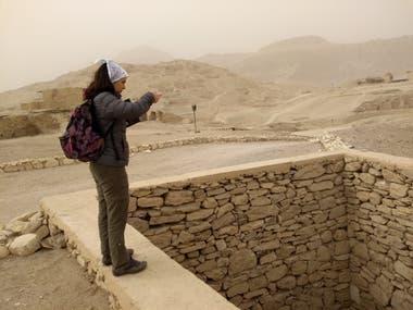 La egiptóloga Belén Castro en el último viaje a Egipto