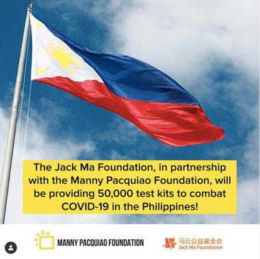 Manny Pacquiao, junto con la Fundación Jack Ma, donaron 50.000 tests de prueba para detectar el COVID-19