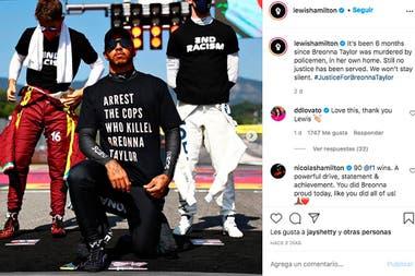 """""""Arresten a los policías que mataron a Breonna Taylor"""", pidió Hamilton con una remera; los otros pilotos se pliegan a la campaña para terminar con el racismo, que él impulsó en la Fórmula 1."""