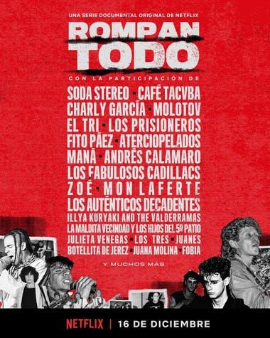 El afiche de la serie Rompan Todo, con formato de cartelera de festival, que circuló en las redes sociales el lunes por la tarde