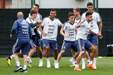 Escena de entrenamiento de la selección argentina