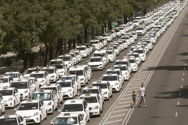 Los taxistas españoles han dado una inusual demostración de fuerza en Madrid