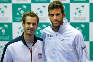 Murray y Del Potro en la previa a la semifinal de la Copa Davis 2016, torneo que terminó ganando la Argentina