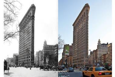 The Flatiron Building, Nueva York, en 1917 y 2012, respectivamente