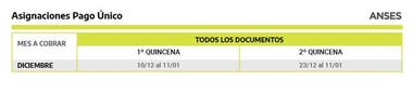 Calendario de cobranza de pagos individuales (matrimonio, adopción y parto)