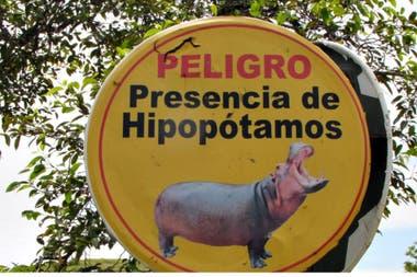 Un cártel que advierte por la presencia de los hipopótamos