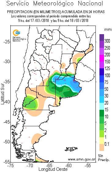 Las precipitaciones registradas hasta el momento