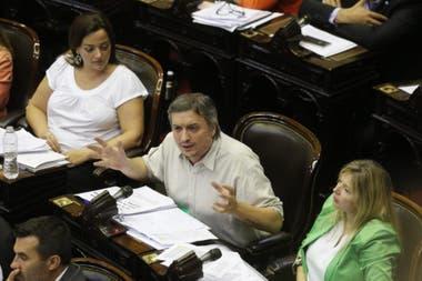 Máximo Kirchner durante el cierre de bloque de Frente de Todos