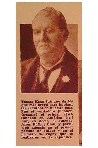 El periodista Thomas Hogg, uno de los pioneros de la actividad en el fútbol en Argentina y decisivo en la fundación de Buenos Aires Football Club, hoy extinto.
