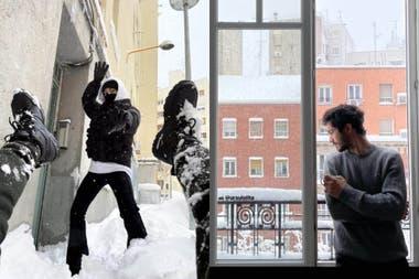 Los actores jugaron como niños con la nieve en la capital española