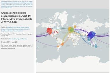 Un análisis de NextStrain sobre la distribución del coronavirus en el mundo durante 2020