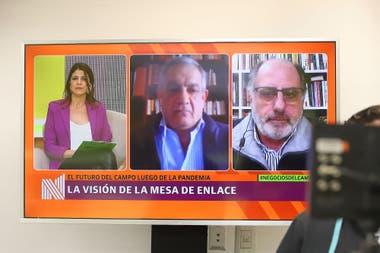 Carlos Iannizzoto, de Coninagro, y Jorge Chemes, de CRA, entrevistados por Eleonora Cole