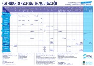 Calendario oficial de vacunación 2018 elaborado por el Ministerio de Salud.